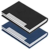 2 PCS Business Name Card Case, <span class='highlight'><span class='highlight'>SENHAI</span></span> PU Leather and Stainless Steel ID Card Holder for Men and Women with Magnetic Shut, Keep Cards Clean (Black, Blue)