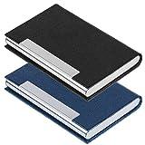 SENHAI – 2 unidades. Funda de piel sintética para tarjetas de identificación de hombre y mujer, con cierre magnético, para mantener las tarjetas limpias (color negro, azul)