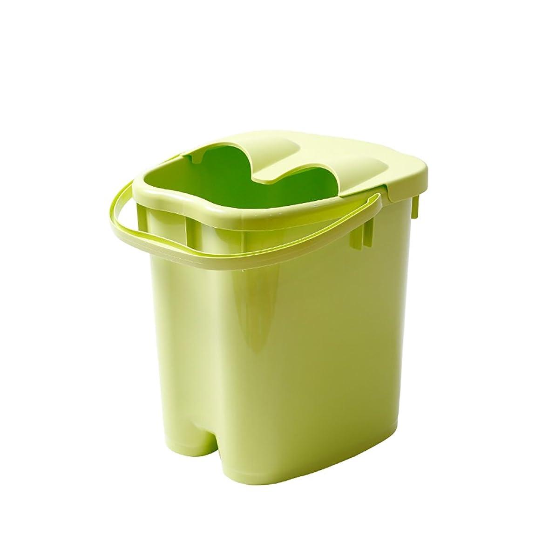 円形の肌寒い年次フットバスバレル厚いプラスチックマッサージフットバスは、家庭の足湯20Lの大容量高水レベルを高め22 * 30 * 40センチメートル (色 : Green)
