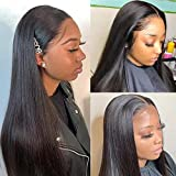 UNice Hair 5x5 HD Lace Closure Wig Human Hair for Black Women, Brazilian Straight Hair Wigs Virgin Hair Transparent Lace Wigs Pre Plucked with Baby Hair 180% Density 18inch