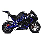 Fit Right 2020 Mini Gas Pocket Bike On 40cc 4 Stroke, Support Up to 165 lbs, EPA Approved, Perfect Mini Pocket Bike for Kids (Blue)