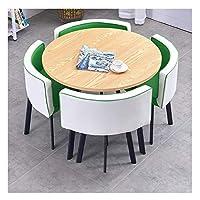 耐久性のあるテーブルと椅子のセット ホームリビングルーム表とチェアセット4現代のミニマリストスタイルのキッチンレストランスタディ表示90cmのダイニングテーブル DYYD (Color : White+green)