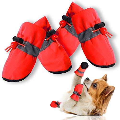 CALHNNA Dog Shoes Anti-Slip Shoes Dog Boot for Small Medium Dogs and Cat Puppies 4PCS