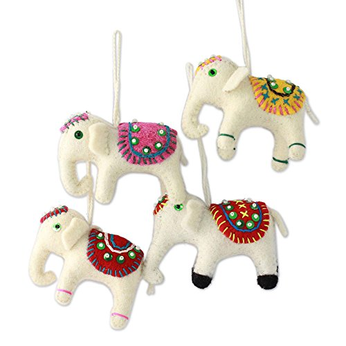 NOVICA Hand Embroidered Beaded White Wool Indian Elephant Holiday Ornaments 'White Elephants' (Set of 4)
