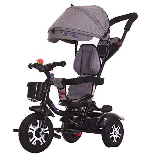 JINHH Kinderdreirad,klappbares Sonnendach Elternlenkung Dreirad Kinder Pedal Trike,Verstellbar Sitz Front Dreirad für Kinder 2-6 Jahre, Black