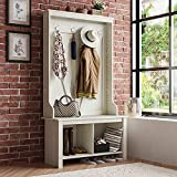 Itaar Entryway Hall Tree with Storage Shoe Bench, Industrial 3-in-1 Entryway Shoe Bench with Coat Rack, Storage Shelf Organizer, Tall Hall Tree Coat Hanger for Living Room, Mudroom White, Wood
