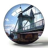Hqiyaols Souvenir Reino Unido Inglaterra Londres Hammersmith y Fulham Bridge Imán de Nevera de Recuerdo 3D Imanes de Nevera de Cristal de círculo de Regalo de Viaje