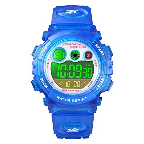 Reloj de pulsera digital para niños y niñas, cronómetro, despertador, reloj de cuarzo para niños, reloj digital deportivo, luz LED, fecha, resistente al agua 5 ATM, multifuncional., azul oscuro,