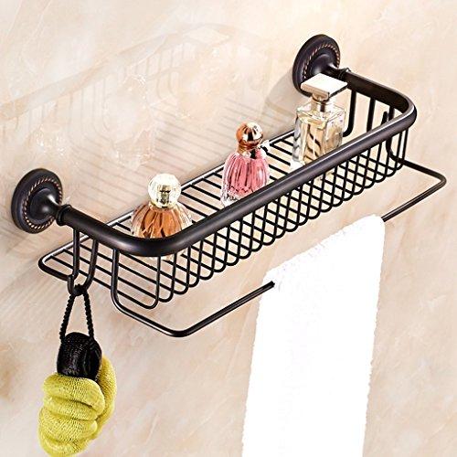 Racks de salle de bain noir Tous les étagères en plastique de style européen en bronze montés sur le mur avec un poteau de serviette/salle de bains (Couleur : B)
