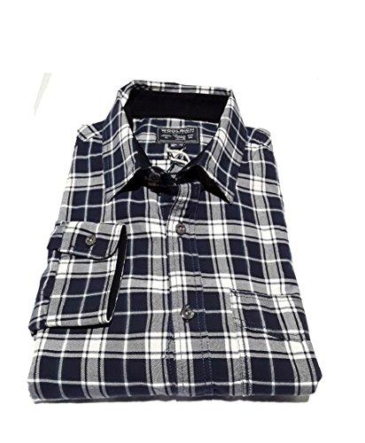 WOOLRICH WOCAM0540-1447 Classic Flannel Wil Herrenhemd mit Tasche aus Baumwollflanell 100% Tartan blau, Blau Small