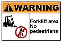 フォークリフトエリア歩行者警告なし。 金属スズサイン通知街路交通危険警告耐久性、防水性、防錆性
