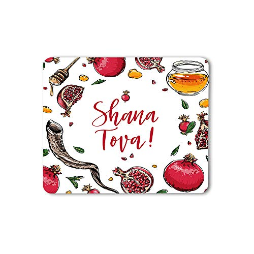 Moslion Pomegranate Mouse Pad Rosh Hashanah Shana Tova Word Honey Shofar Horn Leaf Hand Drawn Gaming Mouse Mat Non-Slip Rubber Base Thick Mousepad for Laptop Computer PC 9.5x7.9 Inch