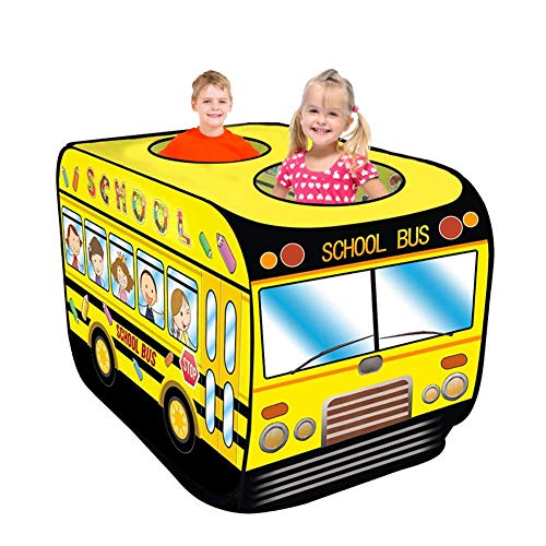 Xeroy School Bus Foldable Play Tent, School Bus Pop Up Kids Children's Play Tent Indoor Playhouse Pretend Vehicle Toy Gift for Boys Girls