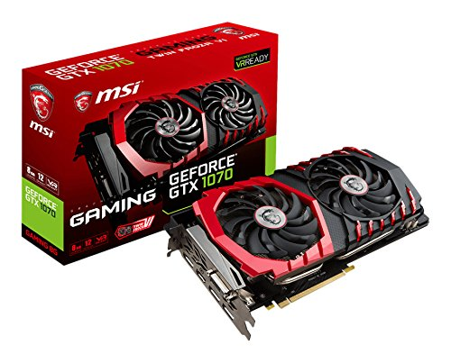 MSI NVIDIA GTX 1070 Gaming 8G Grafikkarte (HDMI, DP, DL-DVI-D, 2 Slot Afterburner OC, VR Ready, 4K-optimiert)