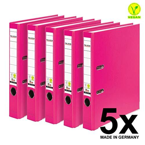 Original Falken 5er Pack PP-Color Kunststoff-Ordner. Made in Germany. 5 cm schmal DIN A4 Pastell-Farbe pink Vegan Ringordner Aktenordner Briefordner Büroordner Plastikordner Schlitzordner