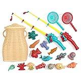 Grust Juguete de pesca, juguete de pesca, juguete de baño, bañera, juego de cesta de pesca, juego de pesca, cesta de bambú, para aprender a pescar, diversión al aire libre