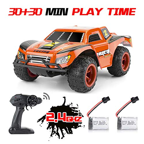 RC Cars for Kids - 2 Rechargeable Batteries 40mins Play Time 2.4 GHZ Remote Control Off Road Monster RC Trucks, Waterproof High Speed 20KM/H 1:22 Scale RC Car | Best Toys Gift for Boys, Girls