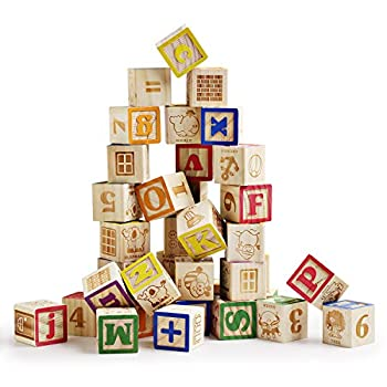 SainSmart Jr Wooden ABC Blocks 40PCS Stacking Blocks Baby Alphabet Letters Counting Building Block Set with Mesh Bag for Toddlers