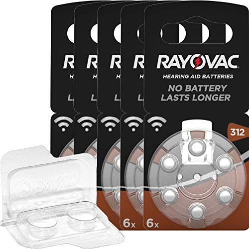 30x Rayovac Acoustic Special braun 312 Hörgerätebatterien (5x 6er Blister) + Aufbewahrungsbox für 2 Hörgerätebatterien