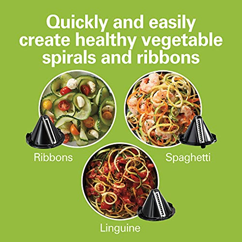 Product Image 2: Hamilton Beach 3-in-1 Electric Vegetable Spiralizer & Slicer With 3 Cutting Cones for Veggie Spaghetti, Linguine, and Ribbons, 6-Cups, Black,70930