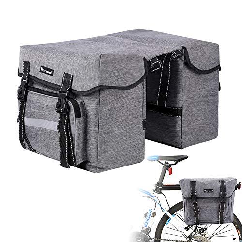 KIPIDA Bici Borsa Posteriore Cremagliera, 28L Multifunzionale Pacchetto Zaino Borsa da Bicicletta, Grande capacità Doppia Borsa per Portapacchi,Borsa Bicicletta Impermeabile per Mountain Bike