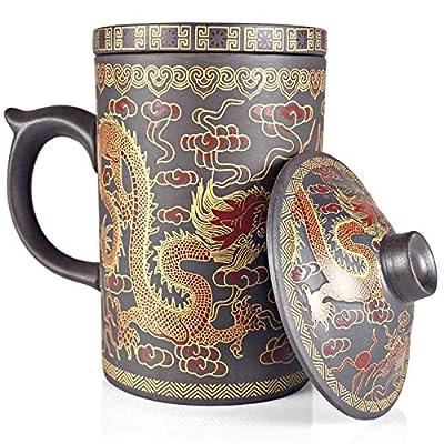 25DOL Chinese Tea Mug with Infuser and Lid 10Oz   Chinese Yixing Purple Clay Coffee Mug   Chinese Mug with Lid   Chinese Dragon Mug   Chinese Tea Infuser Mug   Travel Mug   Retain Heat very well
