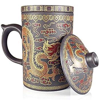 25DOL Chinese Tea Mug with Infuser and Lid 10Oz | Chinese Yixing Purple Clay Coffee Mug | Chinese Mug with Lid | Chinese Dragon Mug | Chinese Tea Infuser Mug | Travel Mug | Retain Heat very well