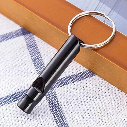 Finer 1Pcs Camping Senderismo Supervivencia Silbato Silbato Llavero Pequeño tamaño Aluminio Silbato de Emergencia Herramientas EDC al Aire Libre Silbato de Tren, 1 Negro