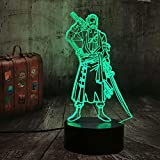 One Piece Roronoa Zoro 7 Colors Changing Table Action Figures Lamp Luffy USB Led Desk Light Japanese Anime One Piece Nightlight Gift Cool Bedside Table Lamp Model Toys Christmas Lampara(Zoro)