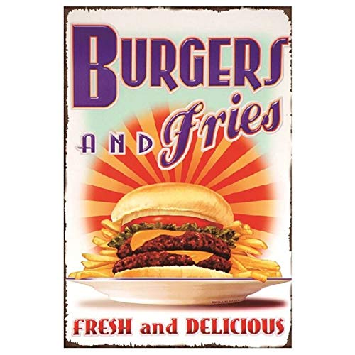 HOGARO Retro Vintage Deko Blechschild 20 x 30 cm Burgers and Fries BBQ Retro Diner Schild