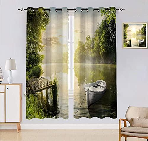 Alandana Nature - Cortina hecha a medida, diseño de barco por el lago nebuloso, bosque de ensueño en la mañana, 2 paneles, cada panel de 152,4 cm de ancho x 228,6 cm de largo, verde oliva y blanco