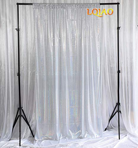 LQIAO Bling Laser 5x7ft Silver Backdrop Holographic Fabric Background Shimmer Photography Booth Photo Background Props Curtain/Backdrop Makeup Vides Shooting Bling Teenage Heart