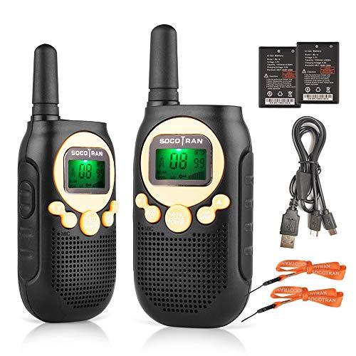 SOCOTRAN Walkie Talkies Bambini, Ricaricabili 8 Canali 3 Miglia a Lungo Raggio PMR446 2 Way Radio con Batteria VOX 10 Toni di Funzione Torcia Giocattolo Regalo Walky Talky per Bambini
