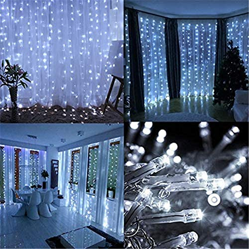 PUHONG Valentines Window Curtain Lights,9.8ftX9.8ft 300 LED Fairy Window String Light [8 Modes & Waterproof] for Halloween Xmas Wedding Party Outdoor Indoor Bedroom Decor(White)