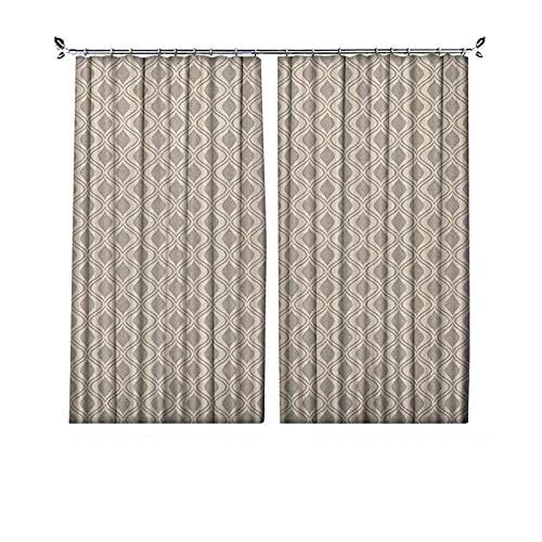 90% cortinas opacas retro, adorno abstracto con líneas onduladas verticales, azulejos geométricos, cortinas plisadas para dormitorio, sala de estar, 200 x 220 cm, color gris pardo y beige