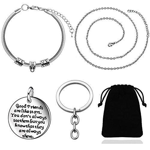 Pulsera de plata para mejores amigas, regalo de graduación y de cumpleaños para niñas