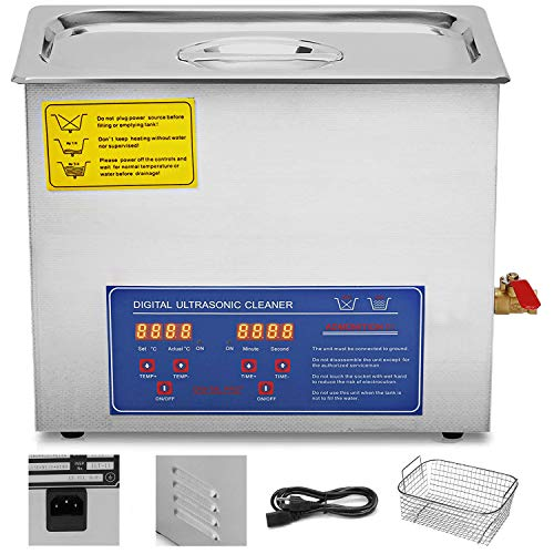 VEVOR Ultrasonic Cleaner Ultrasonic Cleaner Jewelry Ultrasonic Jewelry Eyeglass Commercial Industrial with Digital Heater Timer Basket (10 Liter)