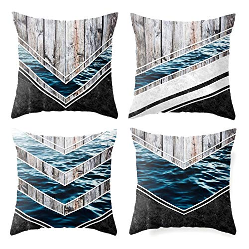 QXbecky Fundas de Cojines Funda de Almohada Cuadrada de océano geométrico con Costura de Grano de Madera (4 Piezas sin núcleo) Funda de Almohada de Microfibra para decoración de sofá