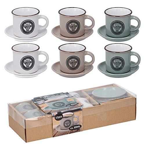 Bakali home Set 6 Tazzine da caffè in Ceramica con Piattino Tazze 89 ml per Colazione Caffe in Porcellana