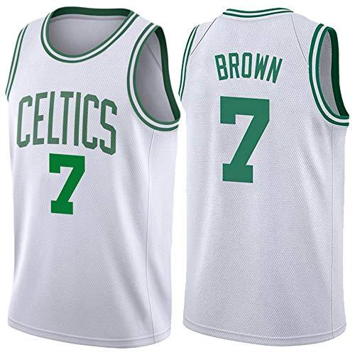 Basketball Trikot Herren -7# Brown Retro Basketballspieler-Trikot Basketball-Shirt Atmungsaktive Und Abriebfeste Stickerei Jungen Männer Fans Trikot Basketball Jersey Hemd (Größe: S-XXL)