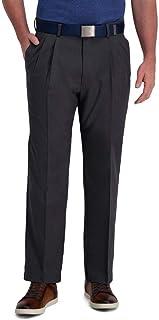 Haggar Men's Cool Right Performance Flex Stria Classic Fit Pleat Front Pant Casual Pants