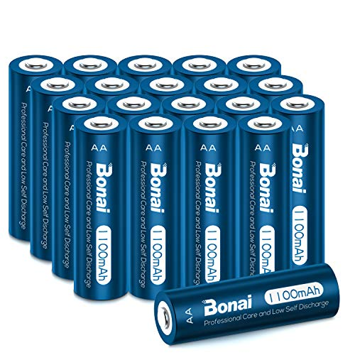 BONAI Solar Rechargeable 1100mAh NiMH AA Battery 20 Packs AA Rechargeable Batteries, 1.2v Precharged for Solar Lights, Garden Lights, Solar Lamp Anti-Leak(AA 20 Pack)