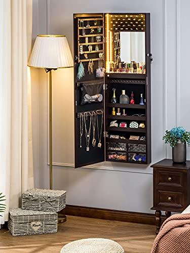 LUXFURNI Mirror Jewelry Cabinet 79 LED Lights Wall-Mount/Door-Hanging Armoire, Lockable Storage Organizer w/ Drawers