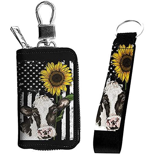 Jeiento Schlüsselanhänger Kuh mit Sonnenblume, Schlüsselanhänger, mit Metallhaken, strapazierfähig, flach, für Namensschilder, Schlüsselanhänger, Kamera, Handy, USB-Stick