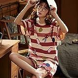 Pijama para Mujer - Dibujos Animados Impresos Verano Pjs Traje De Ropa De Dormir Fruncido Manga Corta Tops Pantalones 2 Piezas Set Casual Suave Ropa De Cama De Salón Suave para Adultos Señoras Feme