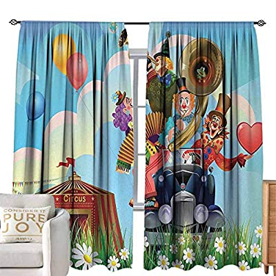 Beaded Curtain Circus,Clowns Vintage Car Circus Big top Daisies Flowers Heart in Meadow Fun Design Art,Multicolor for Bedroom Curtain for Living Room