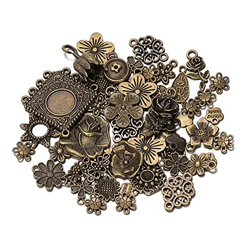 50 g 100 g de pétalos de flor mezclados de bronce antiguo Metal Charms Colgantes Vintage Pulseras Collar para DIY...