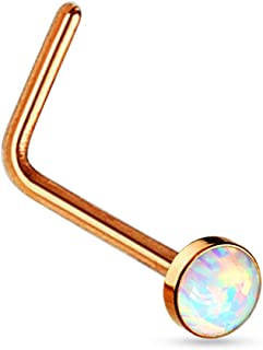 20G Synthetic Opal Set Flat Top PVD Over 316L Surgical Steel L Bend Stud Nose Rings