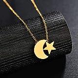 huangshuhua Collar con Colgante de Estrella Simple Moo para joyería de Color Dorado de Acero Inoxidable Regalos para Mejores Amigos