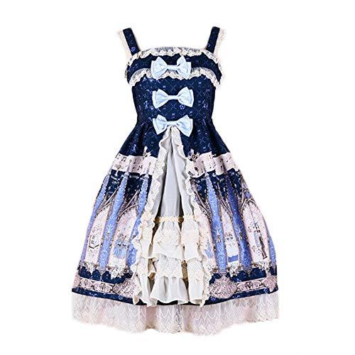 Himifashion Lolita Kleid Damen Chiffon Gothic Black Dress (M)